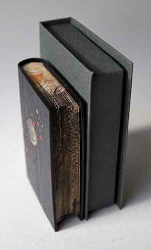 Aether, 2013. Leather hand bound artist's book with box. Cover in leather and paper onlay. Edge colouring. Book art by Louisa Boyd