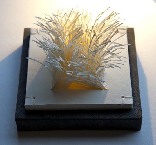 Flare - 2013 Louisa Boyd Magnani handmade white wove paper 12cm x 12cm x 8cm Book sculpture
