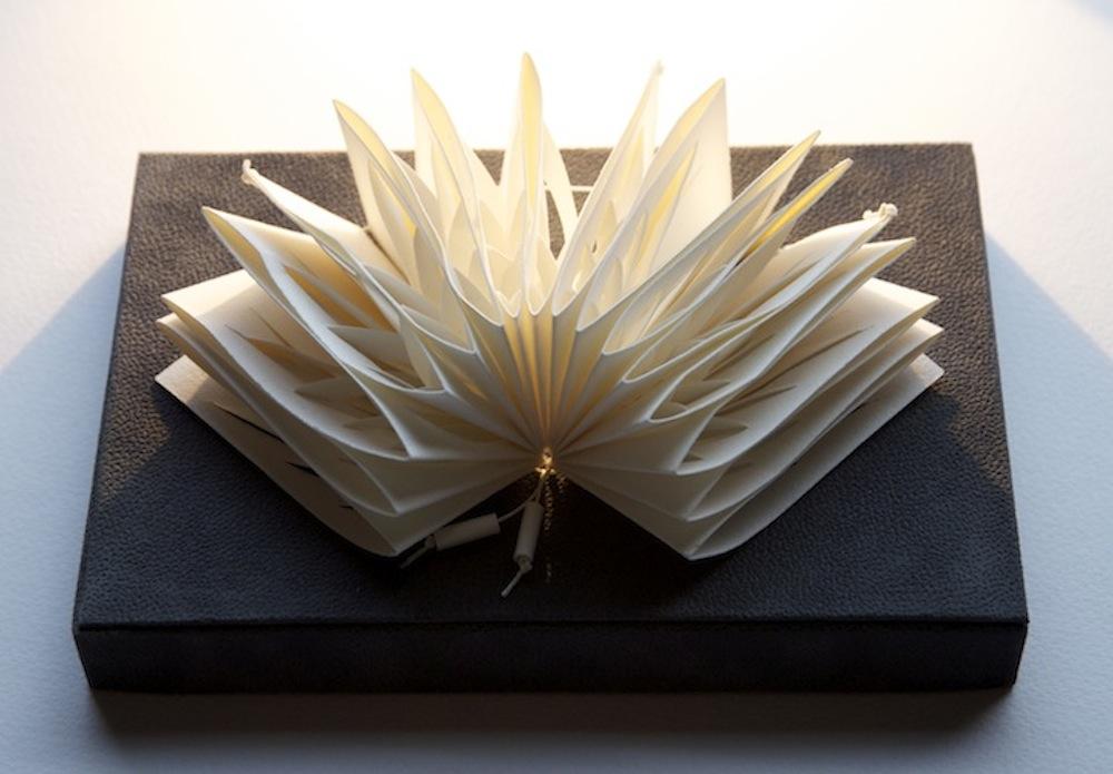 Pleat - 2013 Louisa Boyd Magnani handmade white wove paper, linen thread 11cm x 17cm x 5cm Book sculpture