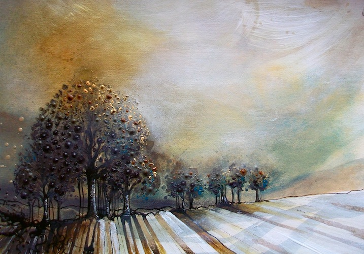 Birch Ridge, 2012. Acrylic on board of a copse of trees in a field. Painting by Louisa Boyd.
