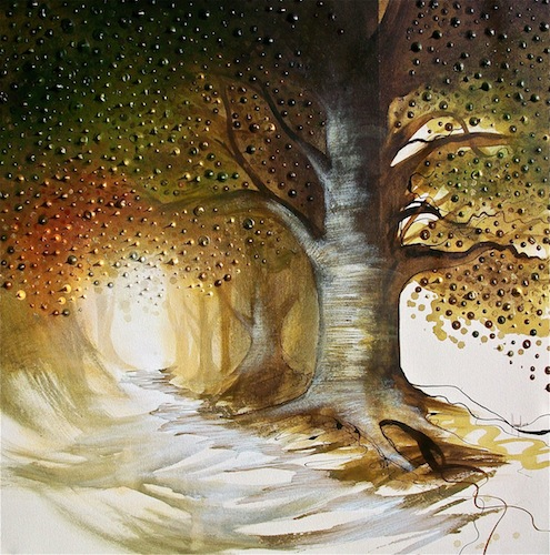 The Gentle Oak, 2012. Acrylic and metal leaf on canvas. Oak tree in the woodland. Painting by Louisa Boyd.