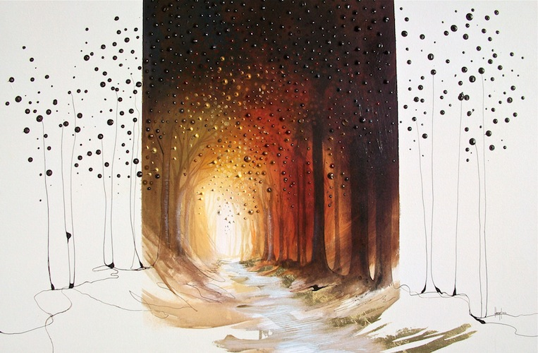 From the Crest, 2012. Acrylic and metal leaf on canvas. Forest pathway through woodland. Painting by Louisa Boyd.