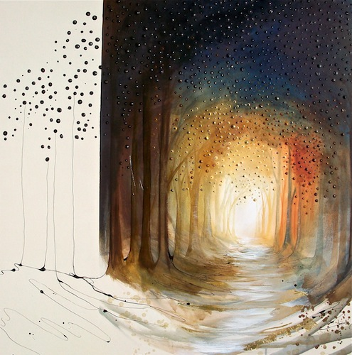 Twilight Roam, 2012. Acrylic and metal leaf on canvas. Forest pathway through woodland. Painting by Louisa Boyd.