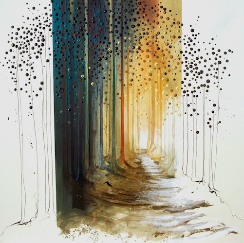 The Path Through, 2011. Acrylic and metal leaf on canvas. Forest pathway through woodland. Painting by Louisa Boyd.