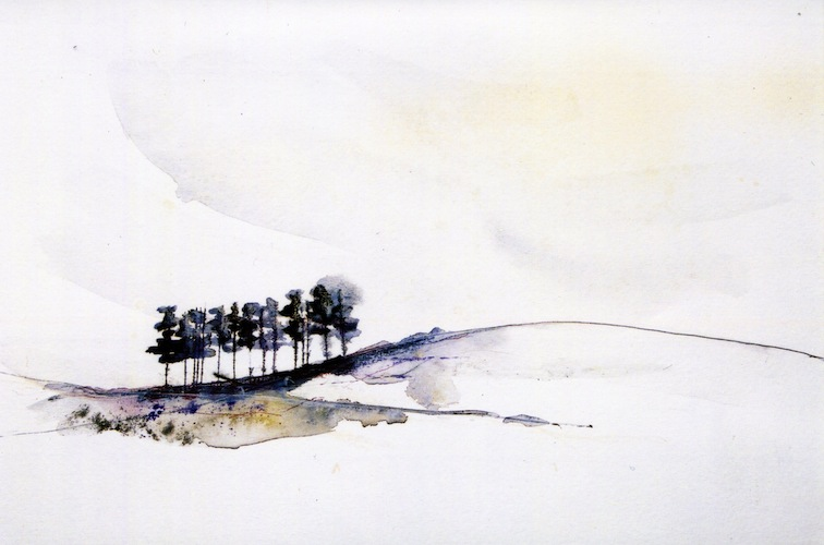 Stay with me here, 2001. Watercolour of trees on a hill on paper. Painting by Louisa Boyd.