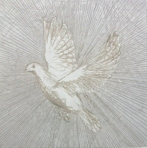 Realisation - 2010 etching bird dove Louisa Boyd