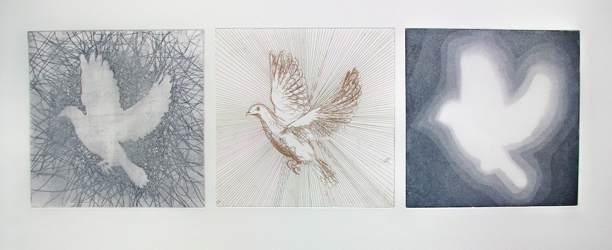 The Onward Path - 2010 etching bird dove Louisa Boyd