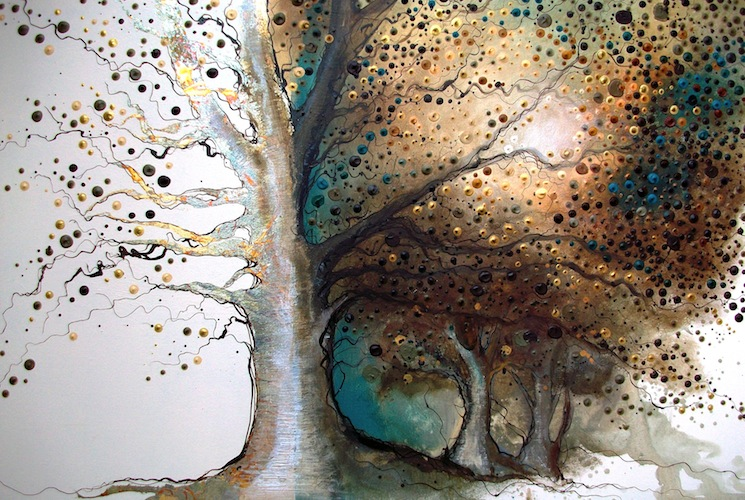 Under the Oak, 2011. Acrylic and metal leaf on canvas. Oak tree in the woodland. Painting by Louisa Boyd.