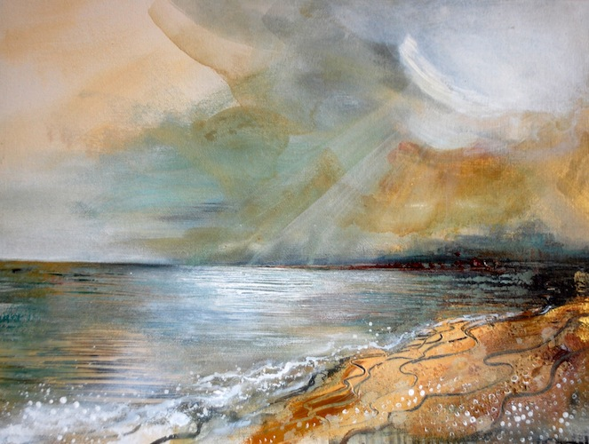 Morning Shallows, 2012. Acrylic on board. Seascape with beach. Painting by Louisa Boyd