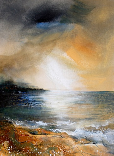 Twilight Straits, 2012. Acrylic on board. Seascape with beach. Painting by Louisa Boyd