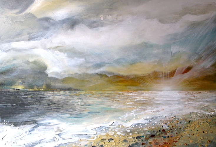 Glistening Shores, 2012. Acrylic on canvas seascape. Sunset over the sea with beach. Painting by Louisa Boyd.