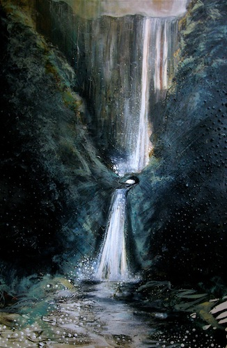 Pistyll Rhaeadr waterfall, 2012. Acrylic on canvas. Painting by Louisa Boyd
