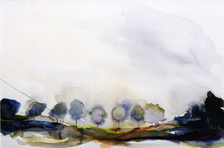 Morning Mist, 2001. Watercolour of trees in a field on paper. Painting by Louisa Boyd.
