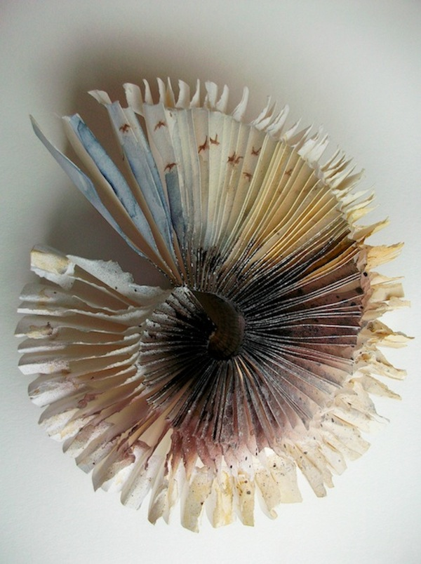 Flock, 2009. Sculpted artist's book depicting birds. Watercolour on paper. Book art by Louisa Boyd.