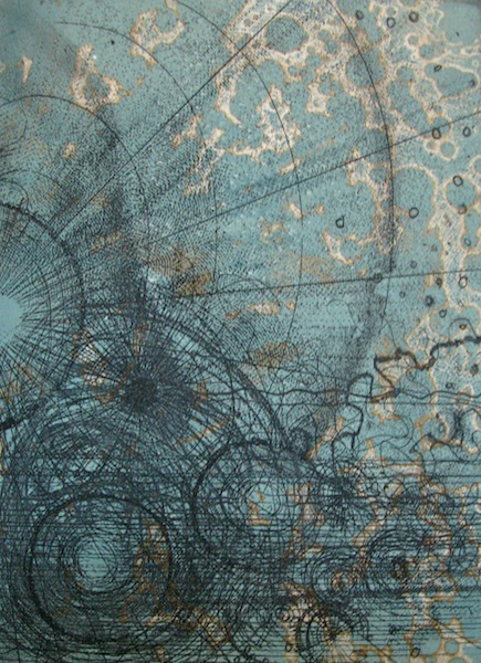 Cartology 7, 2013. Etching on paper of an abstract map. Printmaking by Louisa Boyd.