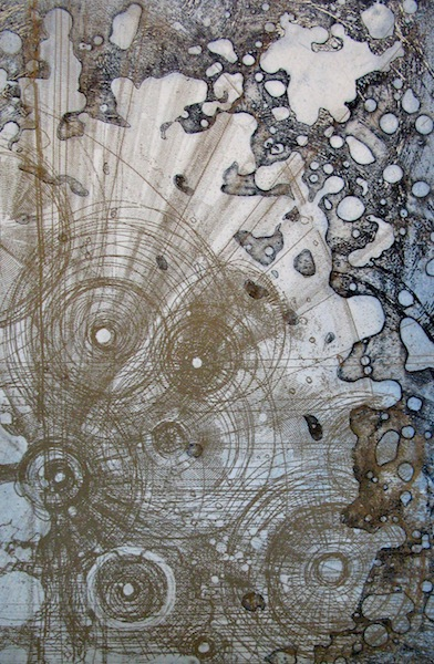 Chart 9, 2013. Etching on paper of an abstract map. Printmaking by Louisa Boyd.
