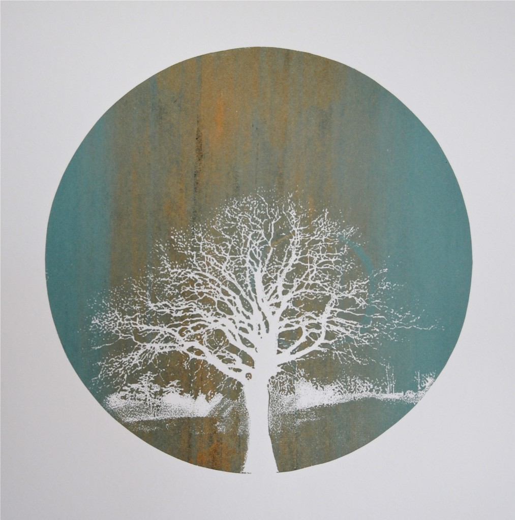 Stone Skies, 2013. Screenprint of a tree. Twilight Series, Printmaking by Louisa Boyd.