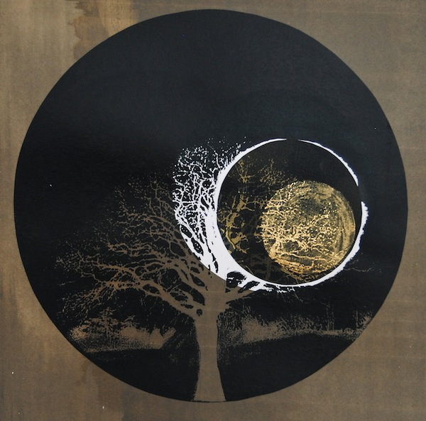 Bright Black Night Before, 2013. Screenprint of a tree. Twilight Series. Printmaking by Louisa Boyd.