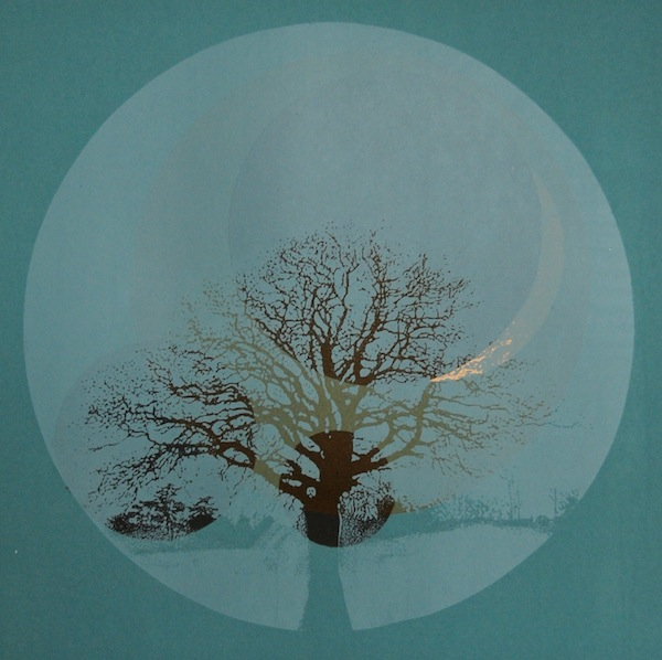 Lunar Mist, 2013. Screenprint of a tree. Twilight Series. Printmaking by Louisa Boyd.