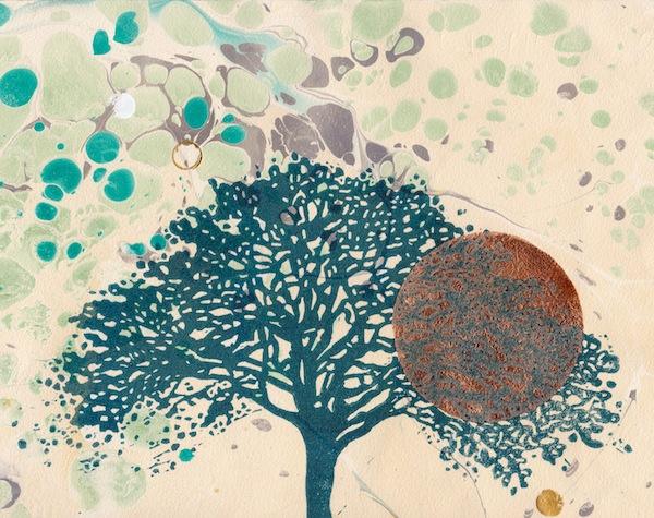 The Oak  Louisa Boyd lino print marbling